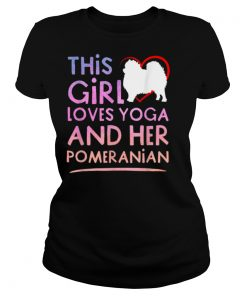This Girl Loves Yoga and Her Pomeranian Pink Women Gift T Shirt
